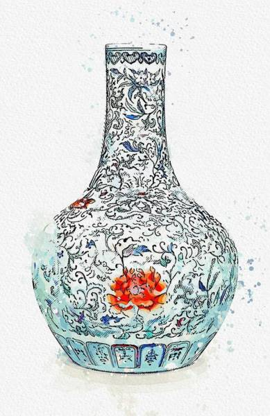 Painting - A Doucai  Floral Scroll  Bottle Vase Qing Dynasty 18th 19th Century Watercolor By Ahmet Asar by Ahmet Asar