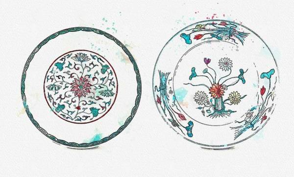 Painting - A Doucai  Lotus Bouquet  Dish And A Doucai  Lotus Dish Qing Dynasty 18th Century Watercolor By Ahm by Celestial Images