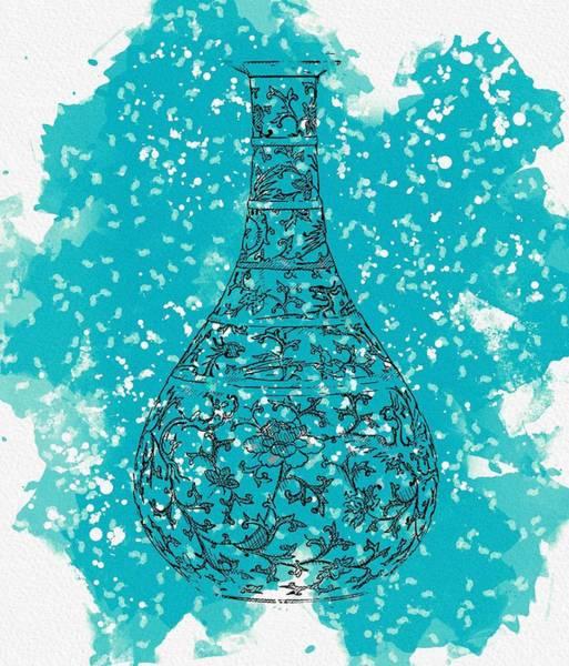 Painting - A Doucai  Phoenix  Vase Yuhuchunping Qing Dynasty Yongzheng Period Watercolor By Ahmet Asar by Ahmet Asar
