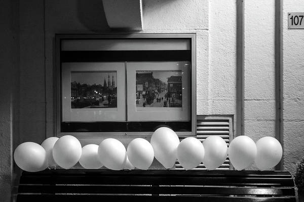 Photograph - A Dozen White Balloons At 107 by Mary Lee Dereske