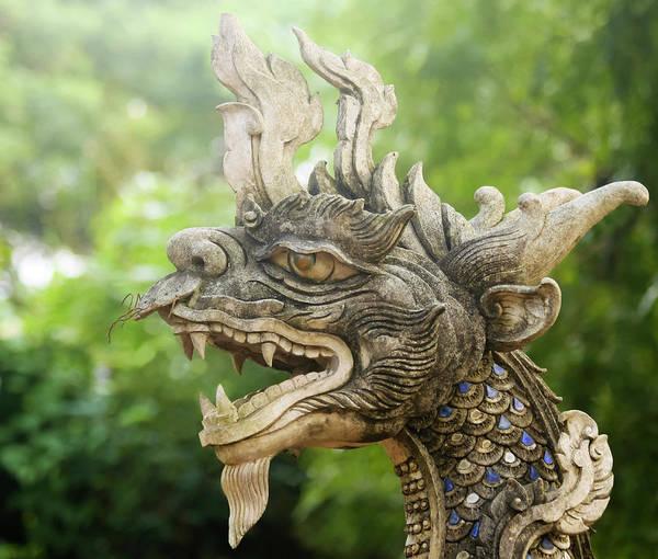 Chang Mai Wall Art - Photograph - A Dragon Statue, Wat Chang Kam Phra Wihan, Wiang Kum Kam, Chiang by Derrick Neill