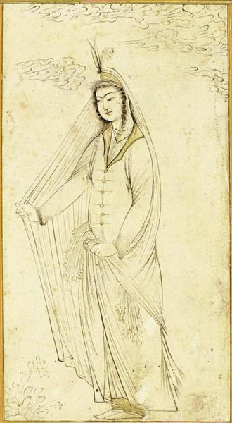 Wall Art - Painting - A Drawing Of A Maiden Wrapped In A Shawl, Persia, Safavid, 17th Century by Celestial Images