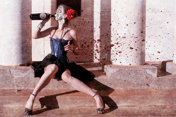 Geisha Mixed Media - A Drink - Day Of The Dead by Joseph Oland