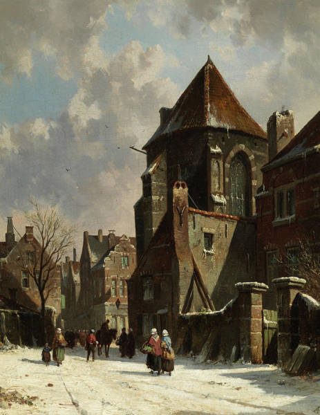 Wall Art - Painting - A Dutch City In Winter by Adrianus Eversen