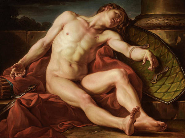 Wall Art - Painting - A Dying Gladiator, 1773 by Jean Simon Berthelemy
