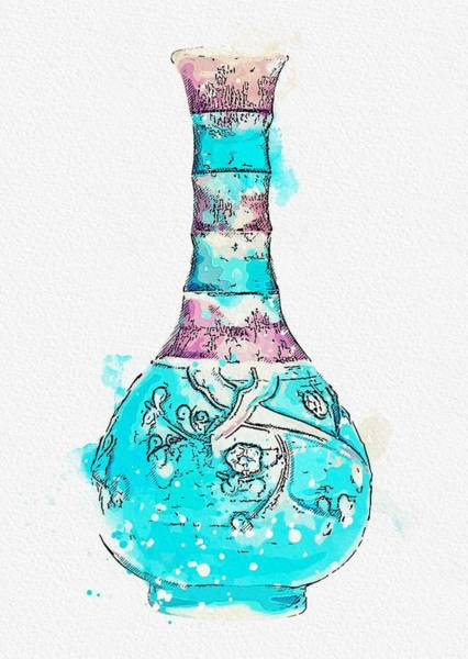 Painting - A Fahua Bamboo-necked  Prunus  Bottle Vase Ming Dynasty, 16th Century Watercolor By Ahmet Asar by Ahmet Asar