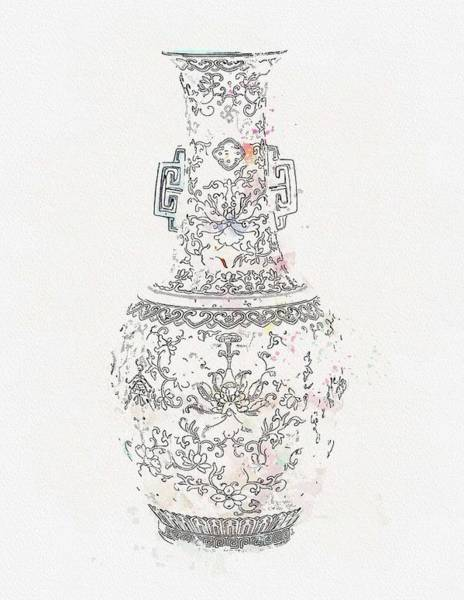 Painting - A Famille Rose Pink-ground Vase 19th-20th Century Watercolor By Ahmet Asar by Ahmet Asar