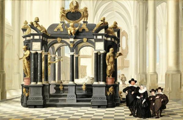 Wall Art - Painting - A Family Beside The Tomb Of Prince William I In The Nieuwe Kerk, Delft - Digital Remastered Edition by Dirck van Delen