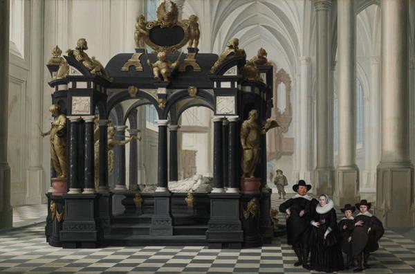 Wall Art - Painting - A Family Beside The Tomb Of Prince William I In The Nieuwe Kerk, Delft  by Dirck van Delen
