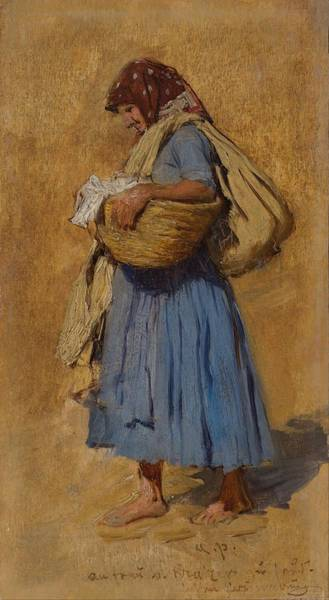 Wall Art - Painting - A Farmers Wife Blowing Her Nose   by August von Pettenkofen