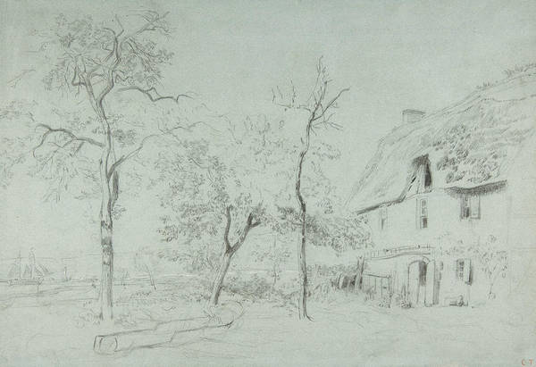 Drawing - A Farmhouse With A Thatched Roof And Trees Beside A River by Constant Troyon
