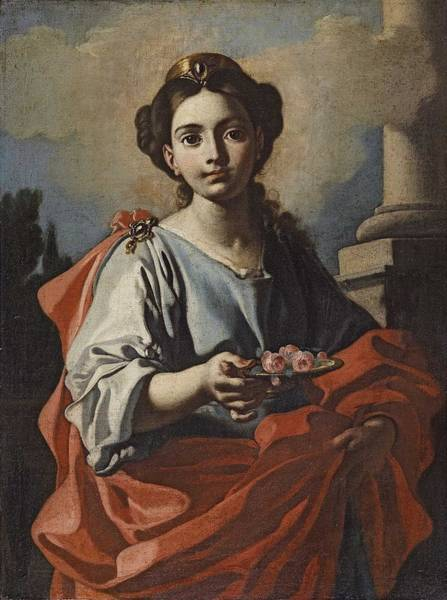 Wall Art - Painting - A Female Saint Holding A Platter With Roses Giacomo Cestaro  Attributed To  by Celestial Images