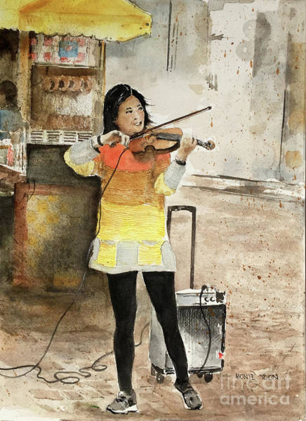Painting - A Fiddler On The Boston Commons by Monte Toon