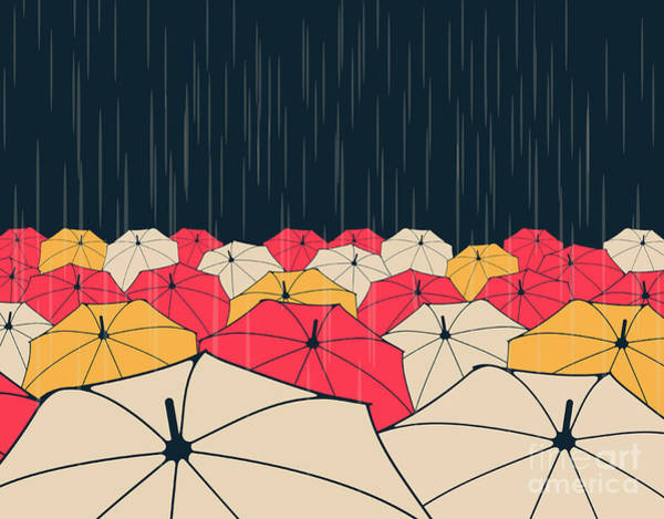 Dark Blue Digital Art - A Field Of Umbrellas Under The Rain, In by L.dep