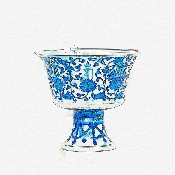 Painting - A Fine Blue And White Stem Cup Qianlong Six-character Seal Mark In Underglaze Blue In A Line And Of  by Ahmet Asar