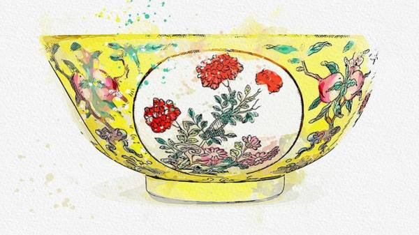 Painting - A Fine Famille-rose Yellow-ground  Medallion Bowl Watercolor By Ahmet Asar by Ahmet Asar