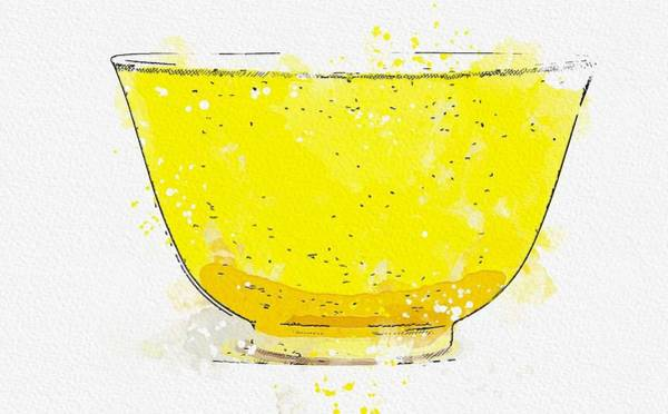 Painting - A Fine Lemon-yellow Glazed Cup Watercolor By Ahmet Asar by Ahmet Asar