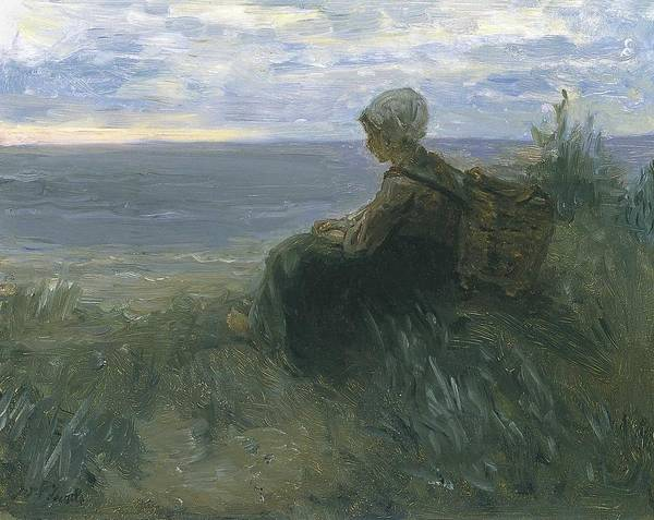 Wall Art - Painting - A Fishergirl On A Dune Top Overlooking The Sea Jozef Israels by Celestial Images