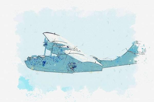Painting - A Flight Of Harvard Trainers Watercolor By Ahmet Asar by Ahmet Asar