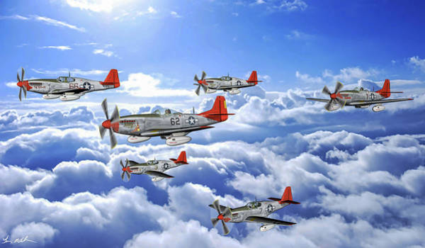 Wall Art - Digital Art - A Flight Of Red Tails - Oil by Tommy Anderson