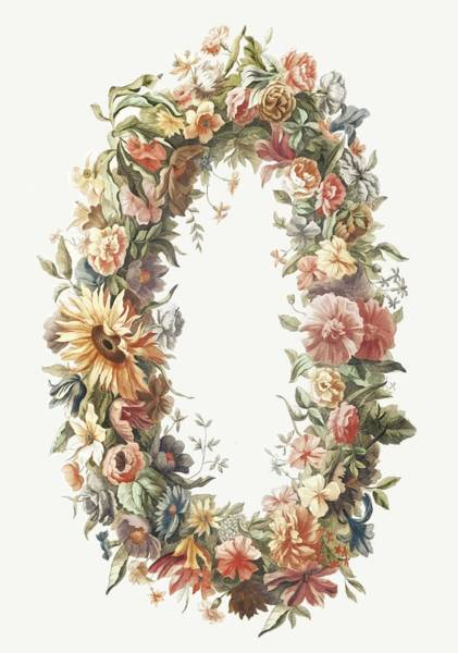 Wall Art - Painting - A Flower Wreath By Johan Teyler  1648-1709  by Celestial Images