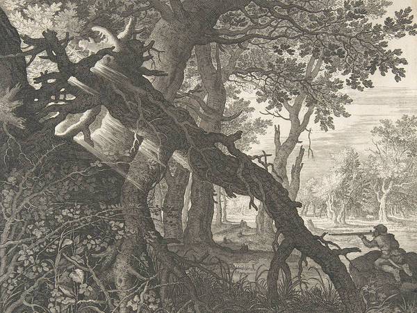 Relief - A Forest With A Rabbit Hunt by Aegidius Sadeler