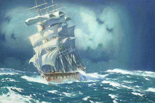 Wall Art - Painting - A Four Masted Barque In Choppy Waters by Kenneth Denton Shoesmith
