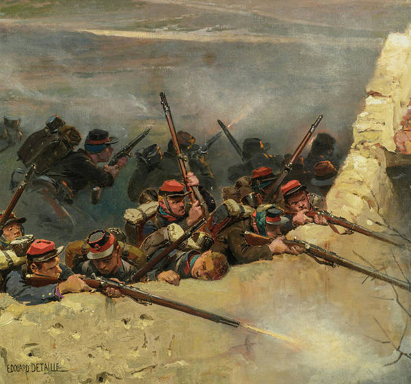 Irregular Painting - A Fragment From The Panorama Of The Battle Of Champigny, 1870 - 1 by Jean-Baptiste-Edouard Detaille