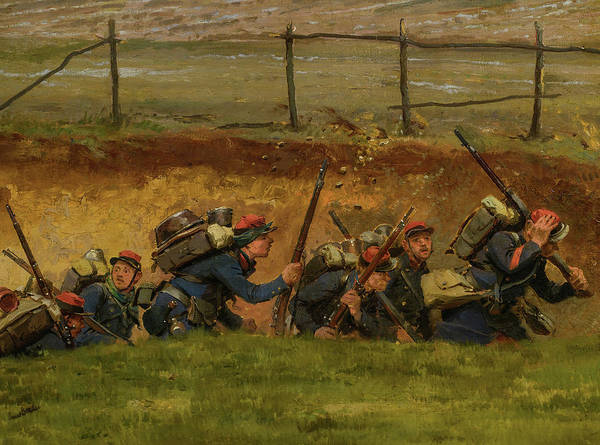 Irregular Painting - A Fragment From The Panorama Of The Battle Of Champigny, 1870 - 3 by Jean-Baptiste-Edouard Detaille