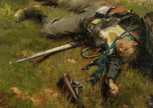 Irregular Painting - A Fragment From The Panorama Of The Battle Of Champigny, 1870 - 4 by Jean-Baptiste-Edouard Detaille