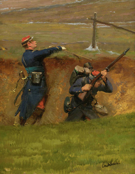 Surrendering Painting - A Fragment From The Panorama Of The Battle Of Champigny, 1870 - 6 by Jean-Baptiste-Edouard Detaille