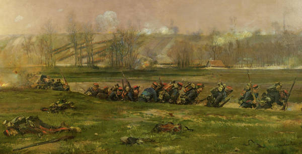 Irregular Painting - A Fragment From The Panorama Of The Battle Of Champigny, 1870 by Jean-Baptiste-Edouard Detaille