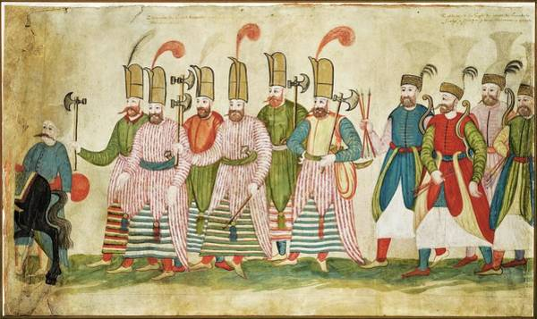 Wall Art - Painting - A Fragment Of A Scroll, Depicting A Procession Of Sultan Murad IIi With Infantrymen  Archers, Conti by Celestial Images