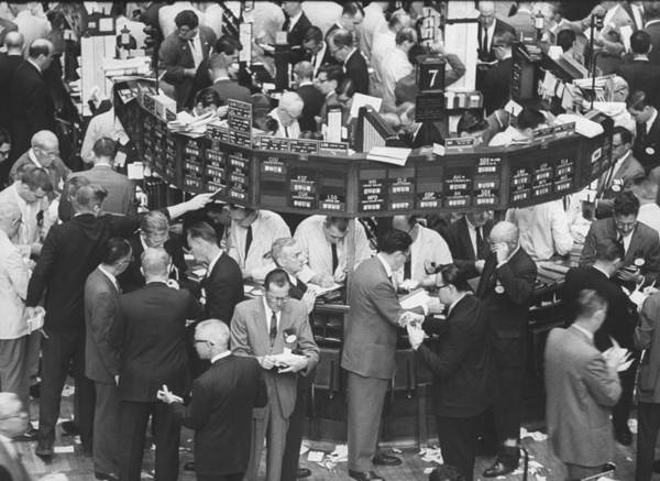 Horizontal Photograph - A Frantic Day At The New York Stock Exch by Yale Joel