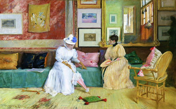 Wall Art - Painting - A Friendly Call - Digital Remastered Edition by William Merritt Chase