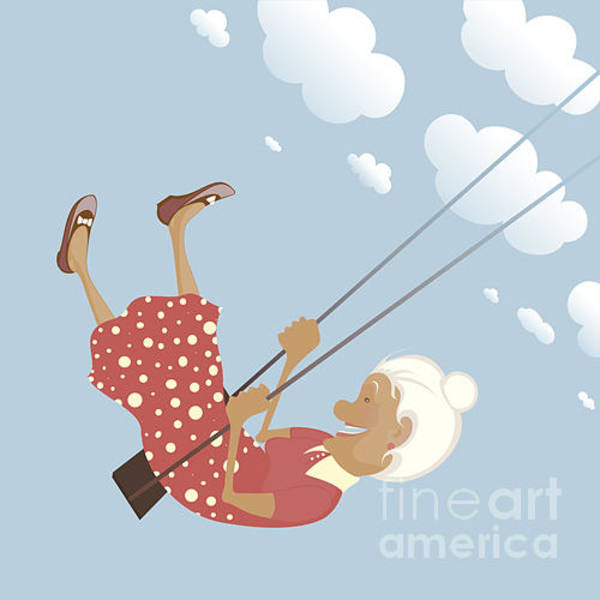 Gray Wall Art - Digital Art - A Funny Granny On The Swing Is Happy by Popmarleo
