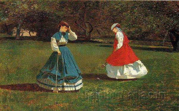 Wall Art - Painting - A Game Of Croquet Winslow Homer by Celestial Images
