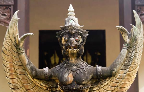 Chang Mai Wall Art - Photograph - A Garuda Statue, Wat Chang Kam Phra Wihan, Wiang Kum Kam, Chiang by Derrick Neill