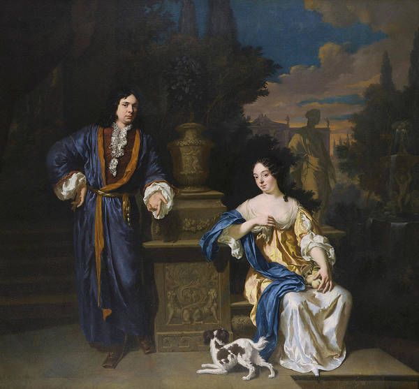 Painting - A Gentleman And A Lady In A Park by Jan Verkolje