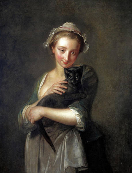 Wall Art - Painting - A Girl Holding A Cat, 1750 by Philippe Mercier