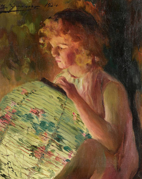 Chinese Girl Wall Art - Painting - A Girl With A Lantern by Luis Graner