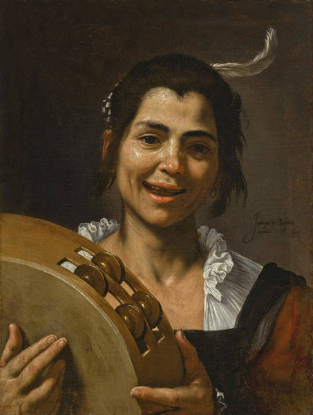 Painting - A Girl With A Tambourine. The Sense Of Hearing by Jusepe de Ribera