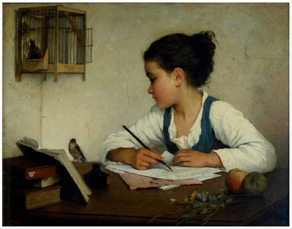 Wall Art - Painting - A Girl Writing. The Pet Goldfinch By Henriette Browne by Celestial Images