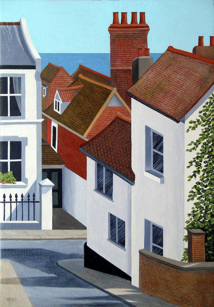 Wall Art - Painting - A Glimpse Of Sea Over Old Town Roofs by Jennifer Baird