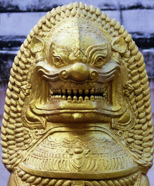 Chang Mai Wall Art - Photograph - A Golden Lion Temple Statue, Chiang Mai, Thailand by Derrick Neill