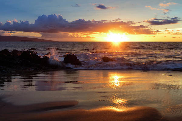 Wall Art - Photograph - A Golden Sunset At A Beach  Makena by Jenna Szerlag