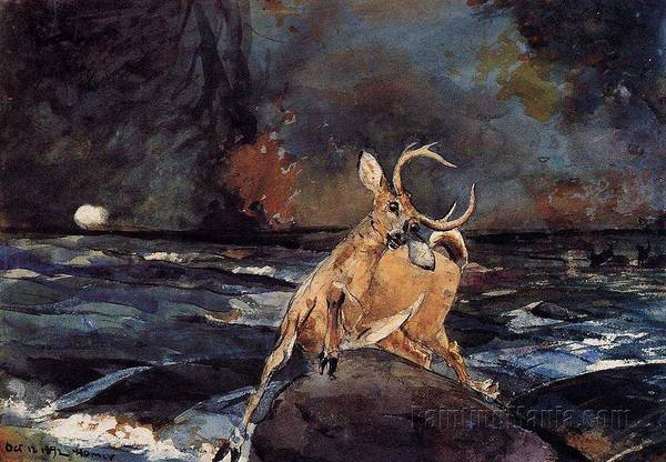 Wall Art - Painting - A Good Shot, Adirondacks Winslow Homer by Celestial Images