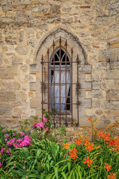 Wall Art - Photograph - A Gothic Window With Flowers by W Chris Fooshee