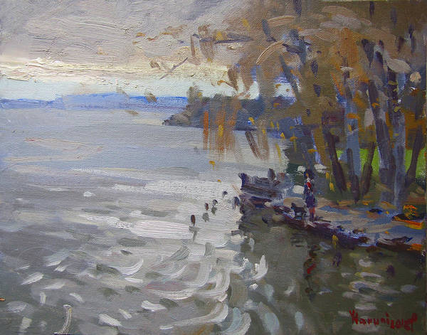Wall Art - Painting - A Gray Fall Day At Fishermans Park by Ylli Haruni