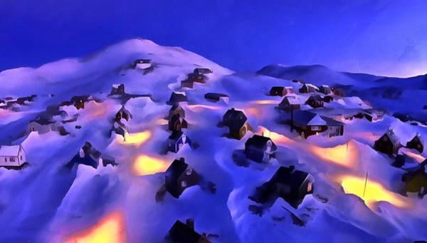Digital Art - A Greenland Village View by Mario Carini